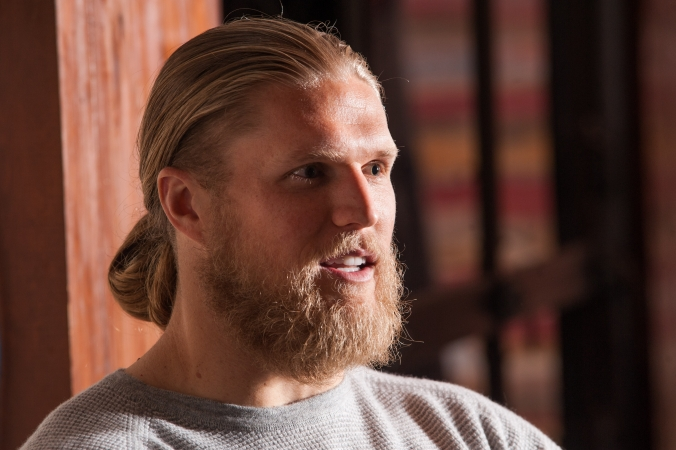 Green Bay Packer Clay Matthews answers audience questions at Pepsi sponsored meet and greet event