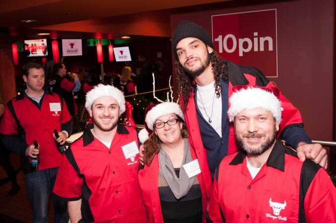 Chicago Bulls Joakim Noah poses with his team at Bowling with the Bulls, 10pin.