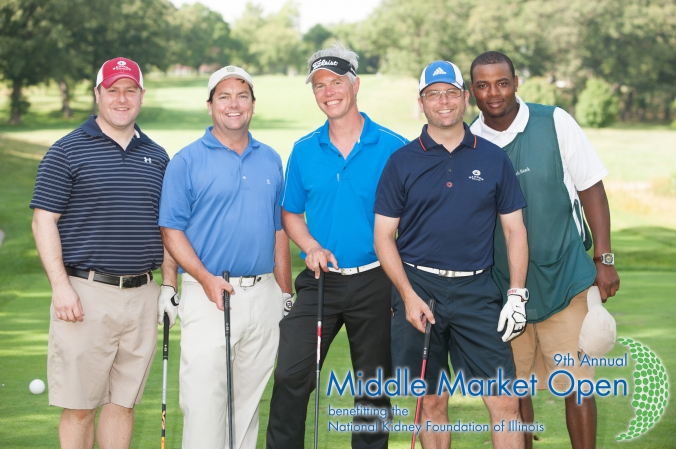 foursome plus caddy pose for group golf photo, logo branded and printed instantly onsite by fab photo chicago