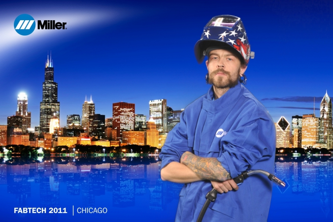 miller welding hero, poses on chicago skyline thanks to green screen photography, fabtech tradeshow, mccormick place, chicago