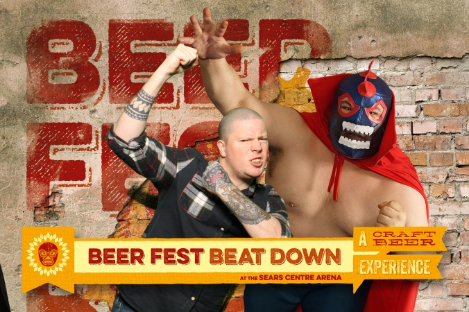 tattoo sleeve beer fan poses with mexican wrestler, green screen photo activity, beer fest beatdown, sears center arena
