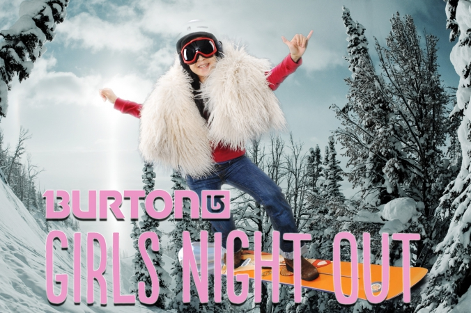 burton snowboards girls night out green screen photo activity, chicago downtown store
