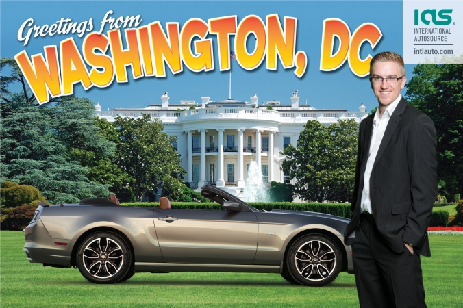handsome man poses with expensive car, green screen photo postcard printed at event, hilton chicago