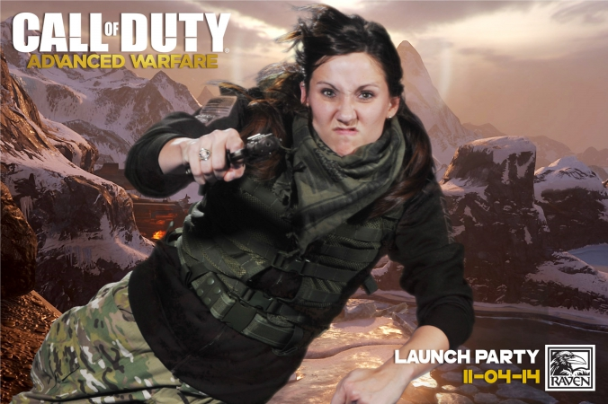 girl leaps through air with guns, call of duty, advanced warfare, launch party, green screen photo activity