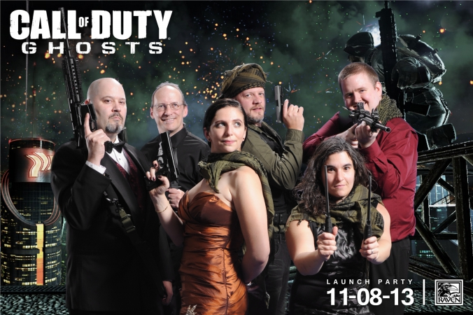 group shot of call of duty game creators, raven software launch party, GHOSTS,