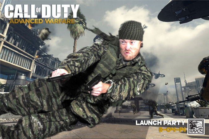 raven software game designers leaps through air shooting guns, green screen photography at launch party event, call of duty advanced warfare