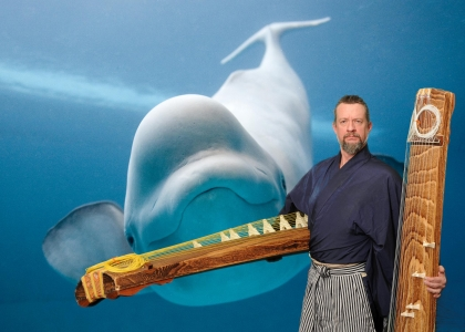 japanese koto musician jeff wichman green screen photo booth at shedd aquarium chicago