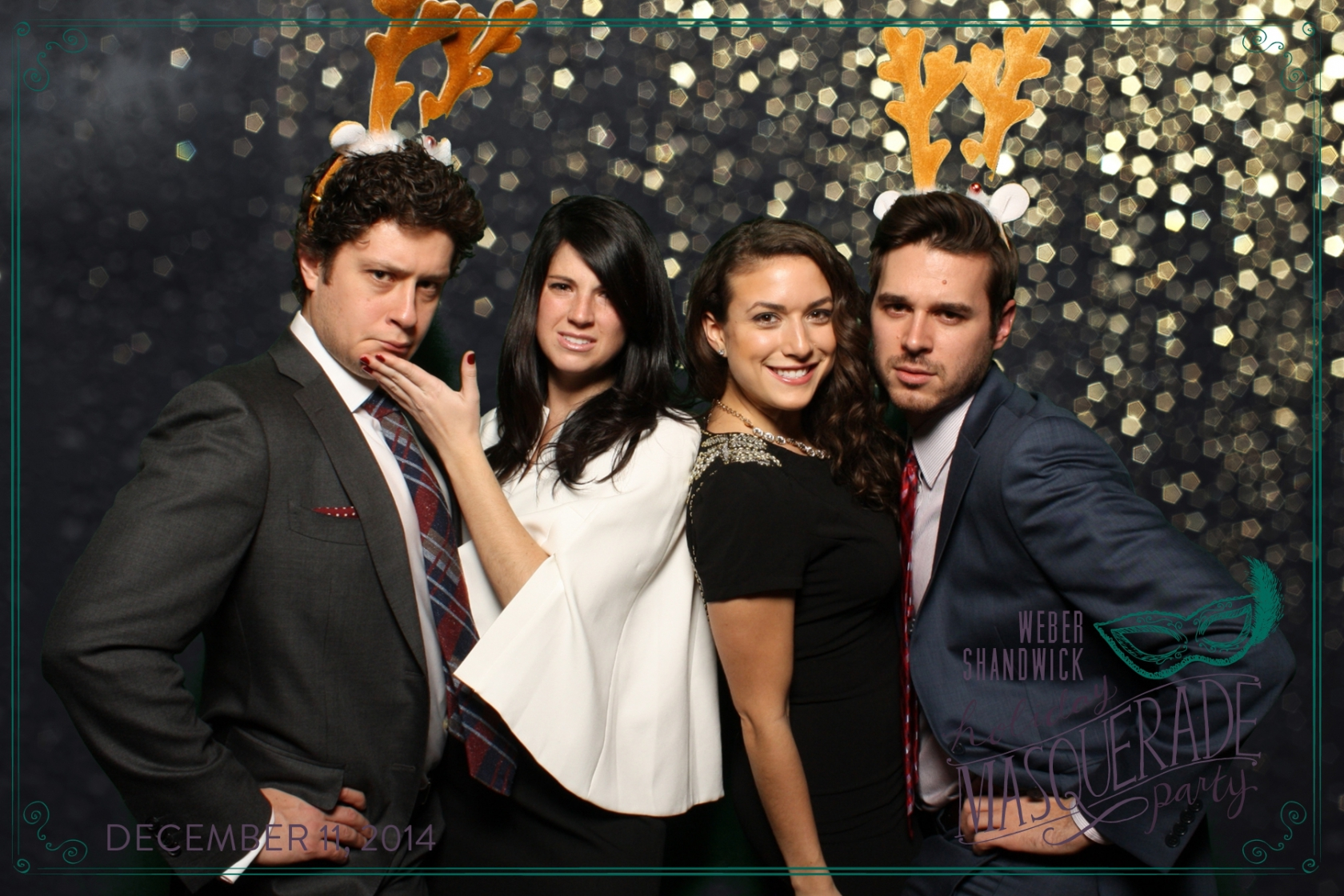 reindeer antler props make perfect photobooth picture weber shandwick annual company holiday party