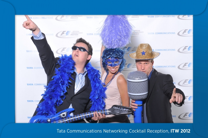 tata communications logo branded their onsite photo prints with a photo overlay that looked like an envelope