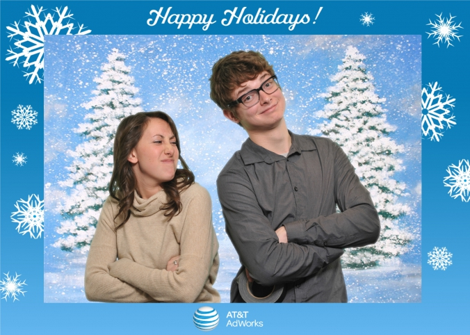 place logo branded overlay on top green screen photo like at&t holiday promotion event