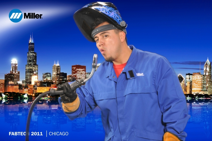 miller welding hero leaves green screen photobooth at tradeshow with logo branded onsite photo print, mccormick place, fabtech