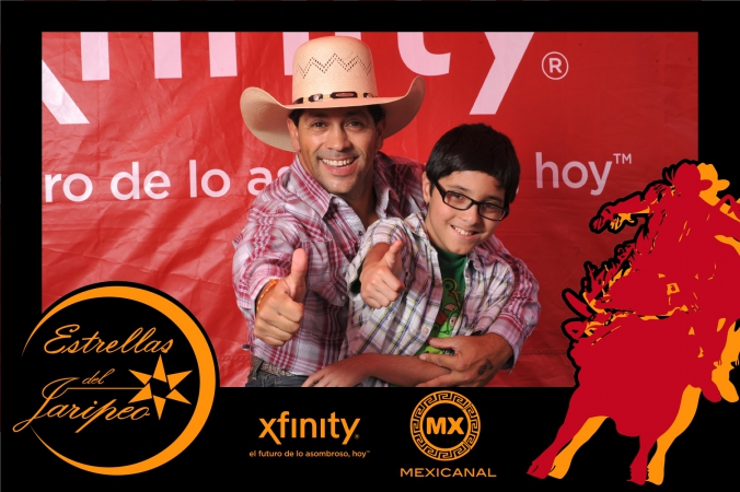 xfintiy and mexicanal use logo branded overlay on photo print giveaway and a tv star from mexico, mexican tv show estrellas del jaripeo, to promote its brand at fiesta del sol, chicago